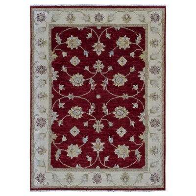 One-of-a-Kind Duquette Hand-Knotted Wool Red/Beige Area Rug