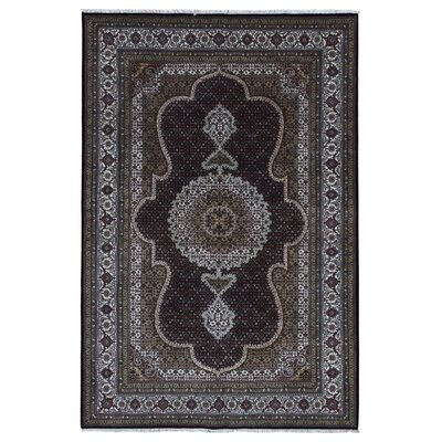 One-of-a-Kind Bessey Mahi Tabriz Hand-Knotted Silk Olive Area Rug