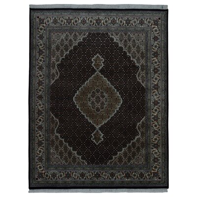 One-of-a-Kind Bessey Mahi Tabriz Hand-Knotted Silk Dark Olive Area Rug