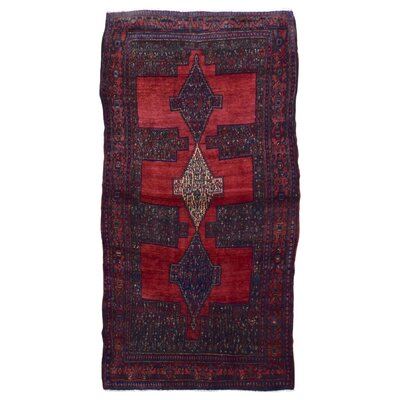One-of-a-Kind Aragam Persian Hamadan Hand-Knotted Wool Red Area Rug