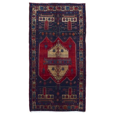 One-of-a-Kind Aragam Persian Hamadan Hand-Knotted Wool Blue/Beige Area Rug