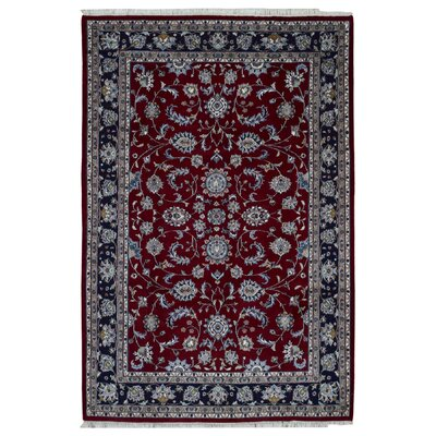 One-of-a-Kind Gracinha Kashan Hand-Knotted Wool Red/Blue Area Rug