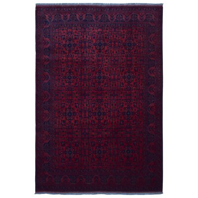 One-of-a-Kind Angoy Afghan Hand-Knotted Wool Red/Blue Area Rug