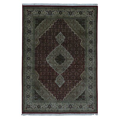 One-of-a-Kind Bessey Mahi Tabriz Hand-Knotted Silk Red/Olive Area Rug