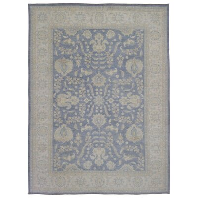One-of-a-Kind Gracinha Pakistan Peshawar Hand-Knotted Wool Blue/Beige Area Rug