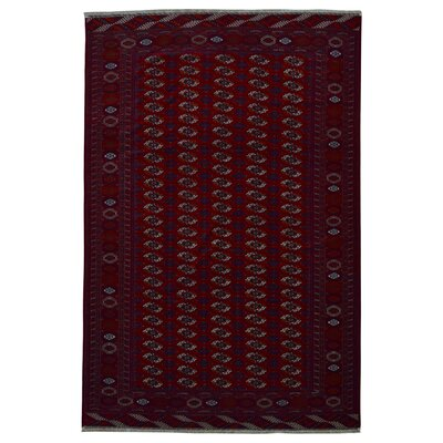 One-of-a-Kind Stryker Bokhara Hand-Knotted Wool Dark Red Area Rug