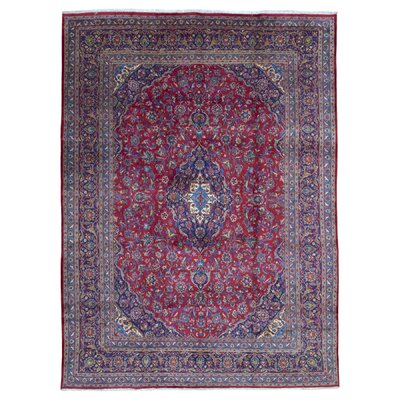 One-of-a-Kind Bethalto Persian Kashan Hand-Knotted Wool Red/Gray Area Rug