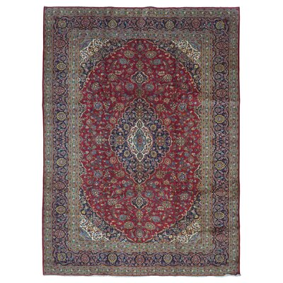 One-of-a-Kind Bethalto Persian Kashan Hand-Knotted Wool Red/Blue Area Rug
