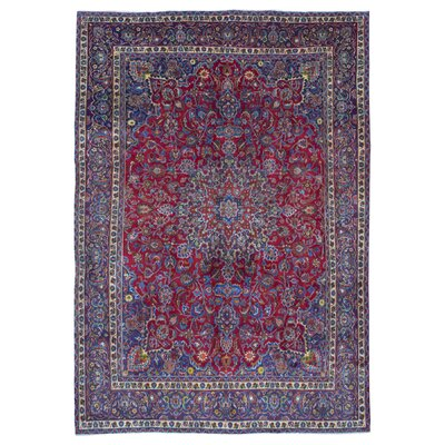One-of-a-Kind Bethalto Persian Mashad Hand-Knotted Wool Blue/Red Area Rug