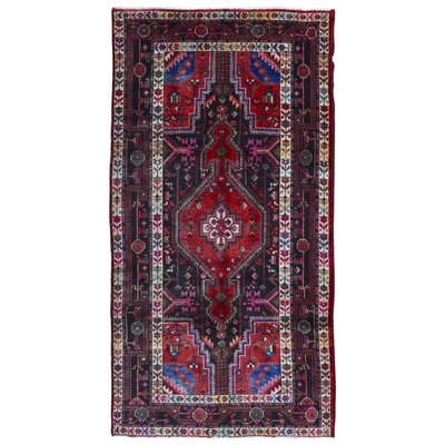 One-of-a-Kind Aragam Persian Hamadan Hand-Knotted Wool Black/Red Area Rug