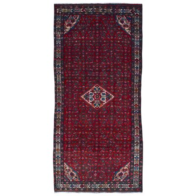 One-of-a-Kind Bethalto Persian Hamadan Hand-Knotted Wool Dark Red Area Rug