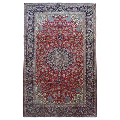 One-of-a-Kind Durgan Persian Isfahan Hand-Knotted Wool Red/Navy Area Rug