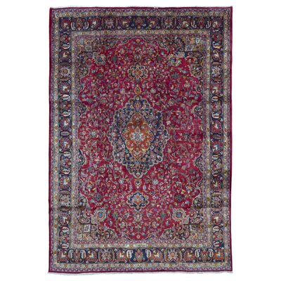 One-of-a-Kind Bethalto Persian Mashad Hand-Knotted Wool Red Area Rug