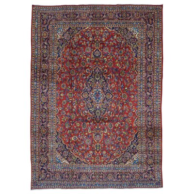 One-of-a-Kind Durgan Persian Kashan Hand-Knotted Wool Navy/Red Area Rug