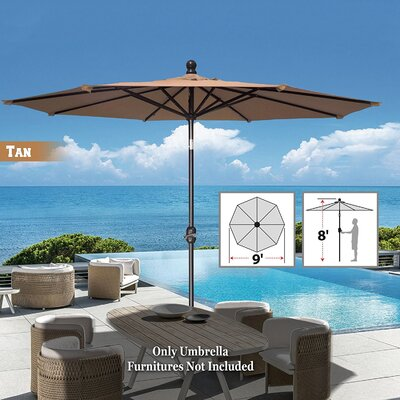 Image of Tatum Patio Umbrella Battery Operated LED Garden Parasol Market Umbrella Fabric Color: Tan