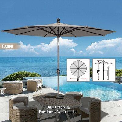 Image of Tatum Patio Umbrella Battery Operated LED Garden Parasol Market Umbrella Fabric Color: Taupe