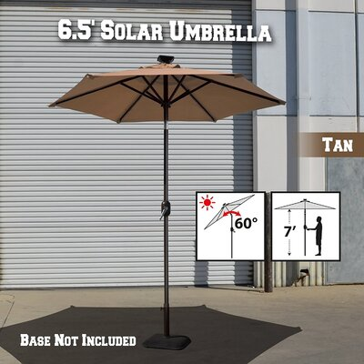 Image of Larissa Solar Light Patio Umbrella Tilt Aluminum Garden Market Umbrella Fabric Color: Tan