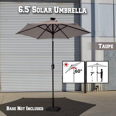 Image of Larissa Solar Light Patio Umbrella Tilt Aluminum Garden Market Umbrella Fabric Color: Taupe