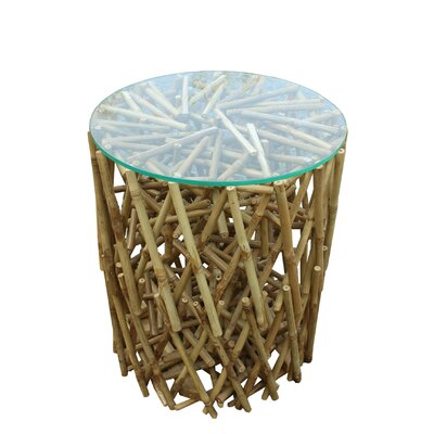 Lefkoniko Round Maze Bamboo End Table Color: Natural