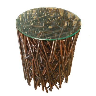 Lefkoniko Round Maze Bamboo End Table Color: Espresso