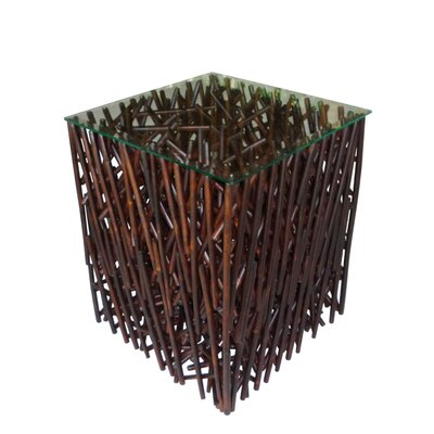 Lefkoniko Square Maze Bamboo End Table Color: Espresso