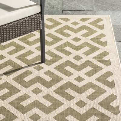 Quinlan Green / Bone Outdoor Rug Rug Size: Rectangle 8 x 112