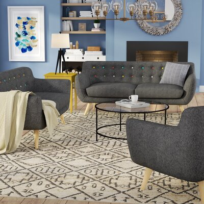 Meggie 3 Piece Living Room Set Upholstery: Grey