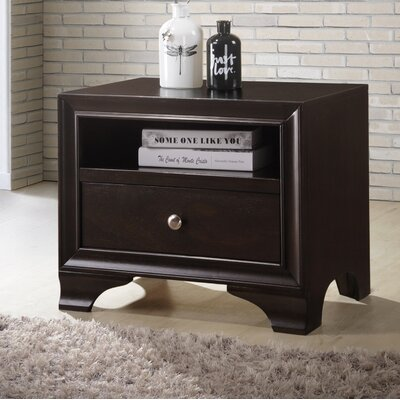 Bowdoin 1 Drawer Nightstand Color: Espresso