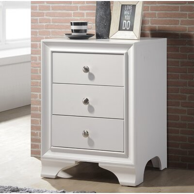 Bowdoin 3 Drawer Nightstand Color: White