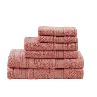 Super Soft Cotton 6 Piece Towel Set Color: Coral