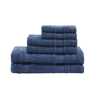 Super Soft Cotton 6 Piece Towel Set Color: Blue