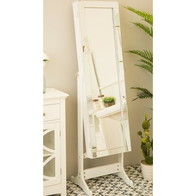 Raglan Standing Jewelry Armoire with Mirror Color: White