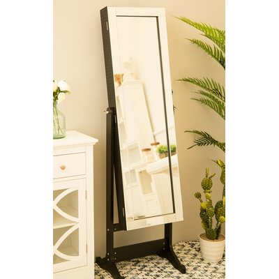 Raglan Standing Jewelry Armoire with Mirror Color: Black
