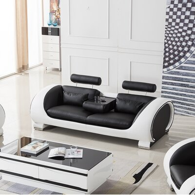 Shryock Leather Sofa Finish: Black/White