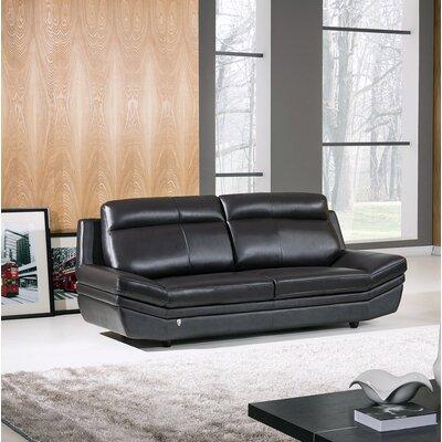 Ullman Leather Sofa Finish: Black