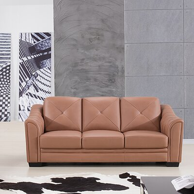 Vicknair Leather Sofa Finish: Dark Tan