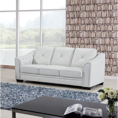 Vicknair Leather Sofa Finish: Ash Gray