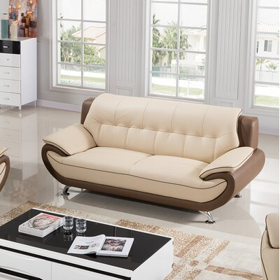 Vickrey Leather Loveseat Finish: Cream/Taupe