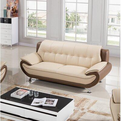 Vickrey Leather Sofa Finish: Cream/Taupe