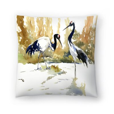 Japanese Cranes Throw Pillow Size: 20 x 20