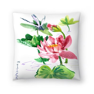 Dragonfly and Lotus Throw Pillow Size: 14 x 14