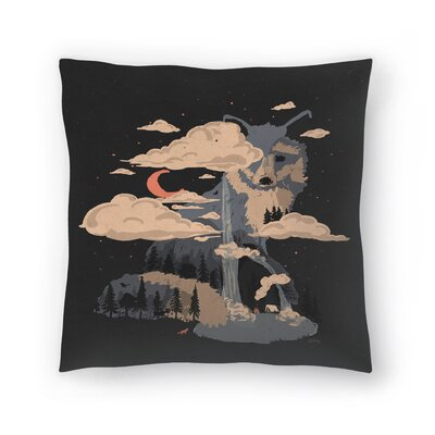 At The Foot Of Fox Mountain Throw Pillow Size: 18 x 18