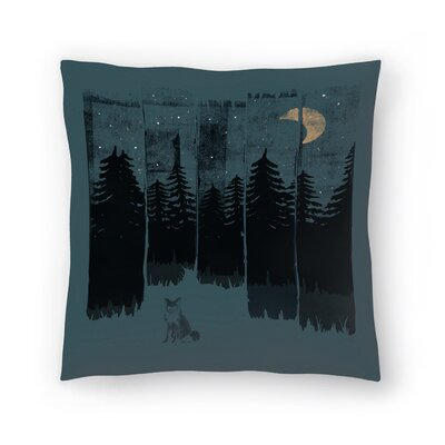 Fox In The Wild Night Rectangle3 Throw Pillow Size: 20 x 20