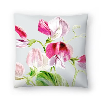 Gray Pink Flowers Throw Pillow Size: 20 x 20
