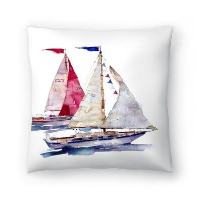 2 Yachts Throw Pillow Size: 18 x 18