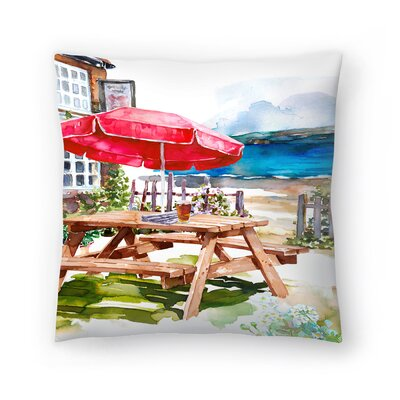 Beer Garden Throw Pillow Size: 16 x 16