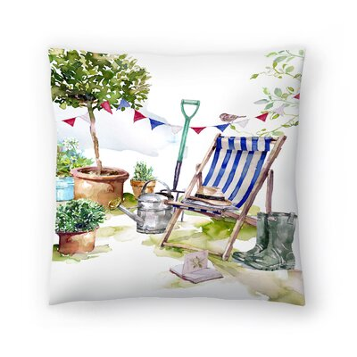Blue Striped Deckchair Throw Pillow Size: 18 x 18