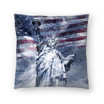 Modern Art Statue of Liberty Throw Pillow Size: 18 x 18, Color: Blue