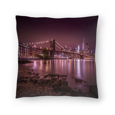 New York City Nightly Stroll Along The River Bank Throw Pillow Size: 14 x 14