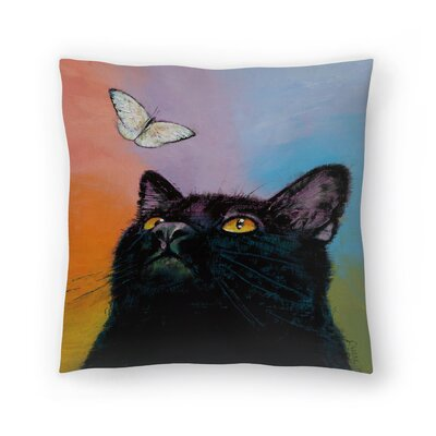 Black Cat Butterfly Throw Pillow Size: 18 x 18